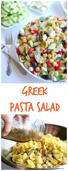 This Greek Pasta Salad is a delicious side dish or add chicken and it's a main meal. Greek recipes are some of my favorite and this Greek pasta salad recipe is no exception. The homemade Greek pasta salad dressing is going to knock your socks off. Pasta Recipes, Salad Recipes, Cooking Recipes, Recipe Pasta, Milk Recipes, Egg Recipes, Recipes Dinner, Cake Recipes, Breakfast Recipes