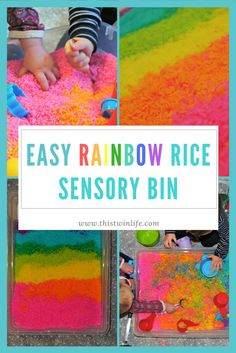 This Twin Life: How to make an easy rainbow rice sensory bin for hours of entertainment, sensory exploration, and colorful fun!