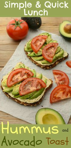 Lately I've been diggin' this vegan Hummus and Avocado Toast as a super simple lunch/snack. It's made with my healthy, homemade, lemon-garlic hummus and topped with fresh, ripe avocado. It's quick, easy and can be ready in under 10 minutes. Lunch Snacks, Lunch Recipes, Whole Food Recipes, Vegetarian Recipes, Cooking Recipes, Diet Recipes, Vegetarian Lunch, Vegan Lunches, Recipes With Hummus