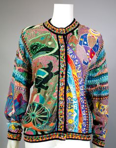 1980s Clothing Coogi Sweater: Large knitted areas now designed by computer, new variations of patterns could now be produced.  A lot of figurative motifs knitted into the piece.