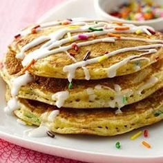 """Cake Batter Pancakes Allrecipes.com-Recipe Sponsored by Bisquick®- """"Blogger Jessica Walker from Lil Miss Bossy shares a new kind of pancake recipe.Bisquick® and SuperMoist® cake mix make these pancakes sweet,fun and a delicious birthday treat!"""""""