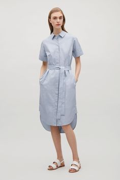 COS image 5 of Belted shirt dress in Dusty Blue