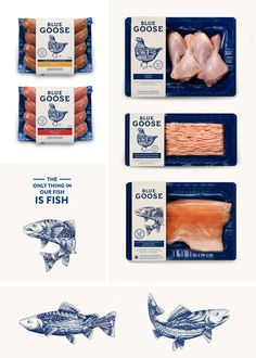 Blue Goose Pure Food #packaging #dieline #fish #sausage #meat