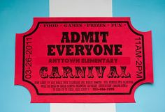 cute carnival theme ideas including invite to look like ticket and signage