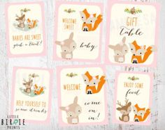Winter WOODLAND Baby Shower Decorations Signs  Welcome Food