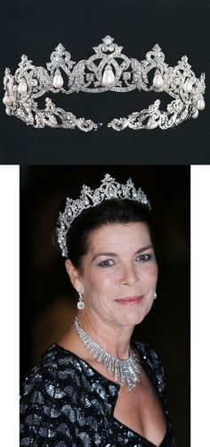Diamond and pearl tiara ornamented with fine drop-shaped pearls is a more traditional ceremonial piece that has been worn by several princesses of Monaco on various occasions since 1949, the year it was ordered. Cartier Paris, platinum, white gold, diamonds, pearls, 18 x 4.5 cm. Provenance: Princess Charlotte of Monaco. Palais Princier de Monaco collection, inv. 011714. http://www.semana.es/carolina-reina-en-luxemburgo-20121020-0041117/
