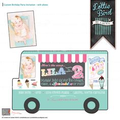 One of my FAVORITES!  We all scream for ice cream!!! Retro Ice Cream Truck Birthday Invitation with Photo! Yum!  Start your party off right with this custom designed digital invitation!  Contact Laura at {Lottie Bird} for more custom keepsake designs!