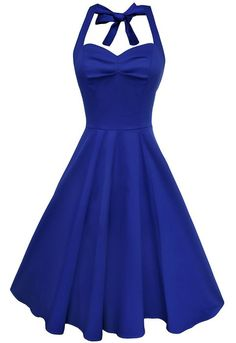 Anni Coco® Women's Halter Polka Dots 1950s Vintage Swing Tea Dresses Black Large