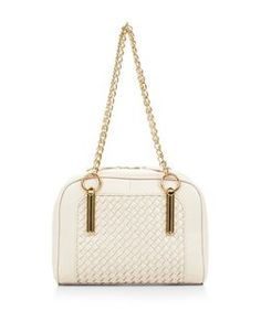 Cream Woven Panel Chain Strap Shoulder Bag  | New Look