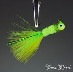 UV Chartreuse 4 Hand Tied Rabbit Hair Crappie Jigs 1//16 ounce White