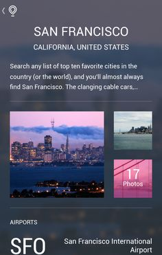 Gallery UI screens from Gogobot Travel Guide Android App. Android Navigation, Android Ui, Material Design Examples, Top Country, San Francisco California, User Interface, Travel Guide, World, City