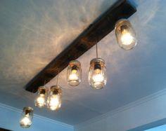 Mason Jar and Wood Track Lighting