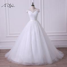 Cap Sleeve Princess A-Line Tulle Wedding Dress - Uniqistic.com