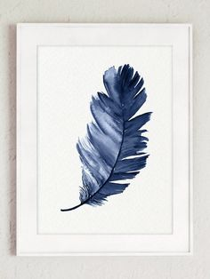 Feather Print set of Navy Blue Feathers Watercolor Painting, Colorful Kids Room Decor, Minimalist Teal Poster Baby Boy Nursery Decoration Watercolor Feather, Watercolor Paintings Abstract, Feather Painting, Feather Art, Abstract Drawings, Art Bleu, Blue Art, Cute Illustration, Canvas Art Prints