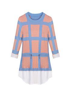 Fashion Half Sleeve Plaid Loose Crew Neck Sweaters