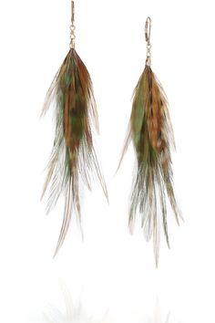 Feather Earrings by Jeeyun Ha Designs: 14K gold and feather. $205  #Earrings #Feather #Jeeyun_Ha_Designs