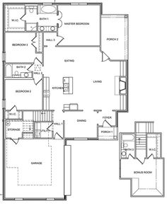 The GREENWOOD has 1839 Square Feet with 3BR/2BA and an upstairs bonus room