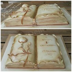 First Communion Cake - Open Book Religious Cake by ArtDelicia by Diana Teixeira