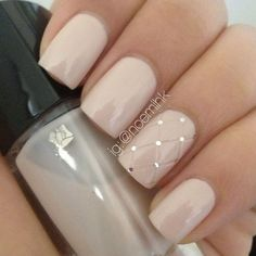 sparkly classy wedding manicure from Lancome - love the neutral color, and touch of sparkle!