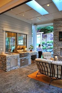 Outdoor Kitchen Ideas - An exterior kitchen area will make your home the life of the party. Use our style ideas to help create the ideal area for your outdoor kitchen home appliances. Outdoor Rooms, Outdoor Living, Outdoor Furniture Sets, Outdoor Decor, Outdoor Kitchens, Indoor Outdoor, Party Outdoor, Wooden Furniture, Outdoor Seating