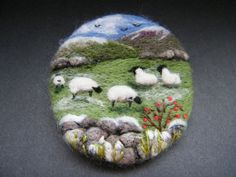 Handmade needle felted brooch/Gift    Winter in the Uplands      by Tracey  Dunn