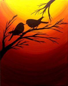Origineel schilderij van de zonsondergang Kerstmis geschenken