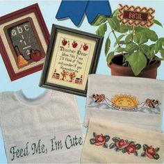 Mini School Theme Samplers Bib Plant Poke & Borders 6 Cross Stitch Patterns