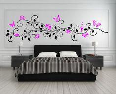 Marvelous  farbig Wandtattoo Blumenranke mit Schmetterlinge Ranke Blumen XXL Deko Sticker eBay