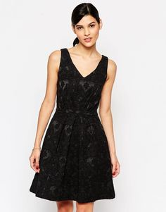 Closet Skater Dress with Cut Out Back - Black