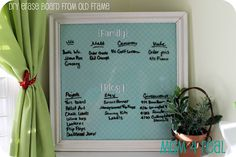 recycled frame into dry erase board