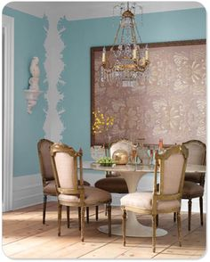 turquoise wall art, framed stencil work becomes art installation, modern eclectic