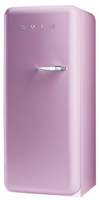 """Smeg pink fridge: love at first sight. """"Who needs a husband when you can have a pink fridge!?!?"""""""