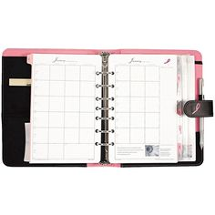 Day-Timer Pink Ribbon Organizer Starter Set /Microfiber Binder, 5-/... (1.810 RUB) ❤ liked on Polyvore featuring home, home decor, office, accessories, pink home decor, zippered notebook, phone pouch, zipper pouch and black pouch