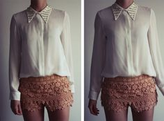 I've been trying to find lace shorts, and my new must have are decorated collars. I picked up a shirt like this from H the other day.