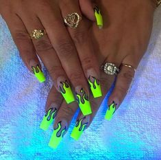 We love neon nails because of their creative colors. The neon nail designs not only shine under the Drip Nails, Glow Nails, Edgy Nails, Swag Nails, Grunge Nails, Fancy Nails, Stylish Nails, Neon Nail Designs, Nails Design