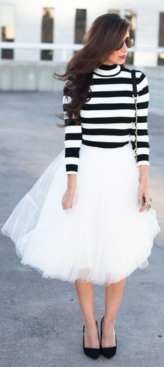Black And White Striped Turtleneck with tutu skirt. Love!