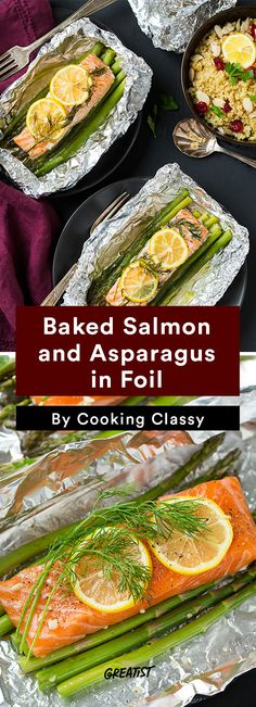 7 Foil Packet Recipes That Make Cleanup a Breeze lachs-spargel-folie. Baked Salmon And Asparagus, Oven Baked Salmon, Baked Salmon Recipes, Fish Recipes, Seafood Recipes, Beef Recipes, Dinner Recipes, Camping Recipes, Drink Recipes