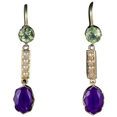 Antique Victorian Suffragette Earrings 15ct Gold Amethyst Peridot Pearls