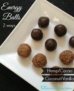 Energy balls: Hemp/cacao and coconut/vanilla