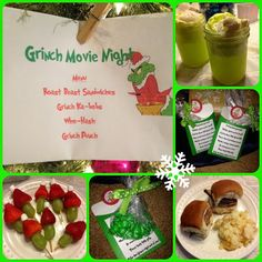 Would be cute once a month to do a themed movie night.Grinch Who Stole Christmas movie night ideas Grinch Christmas Decorations, Grinch Christmas Party, Christmas Movie Night, Grinch Who Stole Christmas, Grinch Party, Family Christmas, Christmas Themes, Holiday Fun, Christmas Holidays
