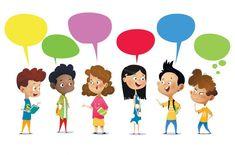 Happy kids talking vector image on VectorStock 4 Kids, Children, Cool Cartoons, Happy Kids, Child Development, Funny Kids, Book Design, Illustration, Vector Free
