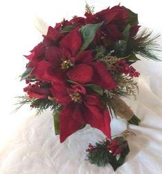 Red Poinsettia Wedding Bouquet Set