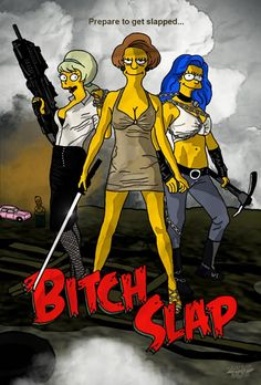 "From the creators of the hit television series The Simpsons, we present you with Bitch Slap the movie. Coming soon to a theater near you. Staring: Marge Simpson, Miss Krabappel and some random girl. ""Prepare to get slapped. The Simpsons Movie, Simpsons Characters, Simpsons Art, Simpson Tv, Homer Simpson, Movie 21, Cinema Tv, Nerd Art, Caricatures"