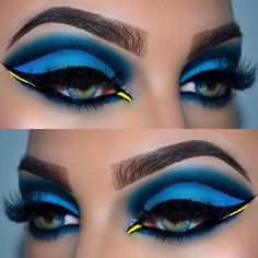 Loving these Dory colours! Exotic Eye Makeup, Makeup Eye Looks, Eye Makeup Art, Colorful Eye Makeup, Beautiful Eye Makeup, Cute Makeup, Makeup Geek, Makeup Inspo, Makeup Inspiration