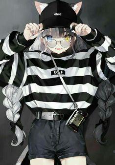 manga girl hair white black eyes minnow blue yellow bezel ca Anime Girl Neko, Chica Gato Neko Anime, Anime Girl Dress, Anime Wolf Girl, Chica Anime Manga, Otaku Anime, Anime Art Girl, Anime Girls, Anime Angel Girl