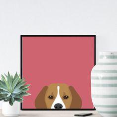Chien beagle sur fond rose - 23x23cm