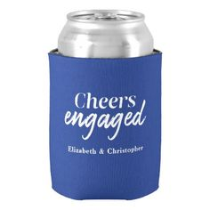Cheers Engaged Blue Typography Engagement Party Can Cooler Country Engagement, Engagement Couple, Engagement Pictures, Engagement Shoots, Engagement Photography, Wedding Engagement, Engagement Party Invitations, Modern Typography, Perfect Party