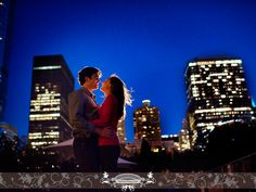 Jaci and Brendan downtown Chicago, night time, backlit, engagement session photo. Photo by: FRP