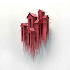 "DAVID MORENO, Barcelona, Spain, ""Floating Favelas ll"", (Little suspended huts made out of thousands of rods and ropes from piano wire), pinned by Ton van der Veer"