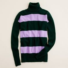 Cashmere rugby-stripe turtleneck sweater j.crew